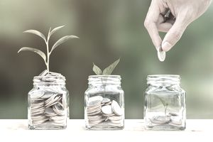 Cropped Image Of Hand Putting Coins In Jars With Plants