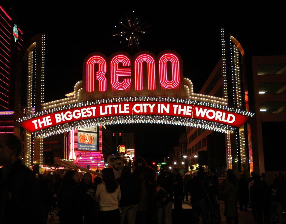 World famous Reno Arch in downtown Reno, Nevada