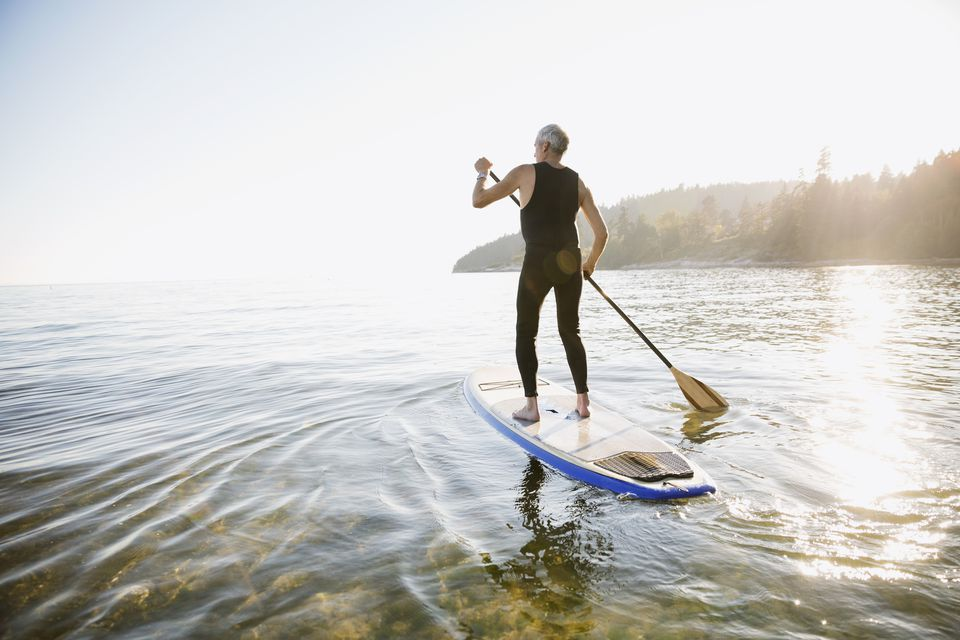 A man paddleboarding in a lake.