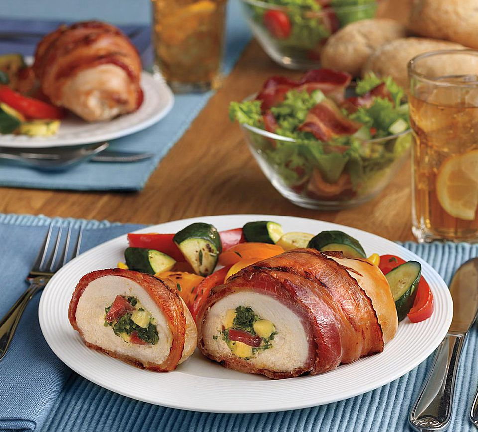 Chicken Roulade Stuffed with Smoked Bacon, Spinach & Gouda