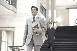Lawyer walking through courthouse