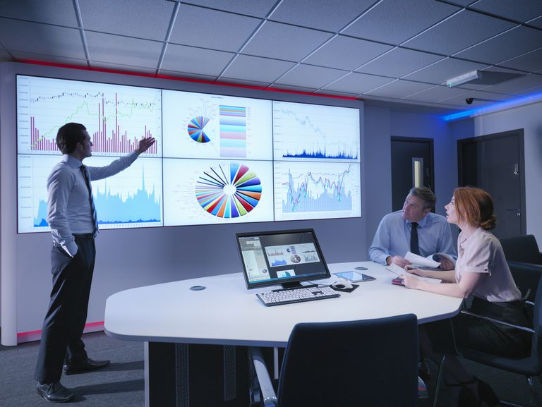 Three business people reviewing data graphs on a large screen