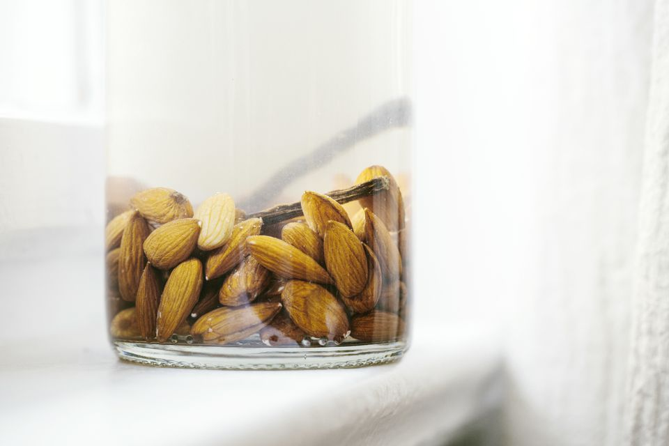 Soaking nuts in water on the countertop