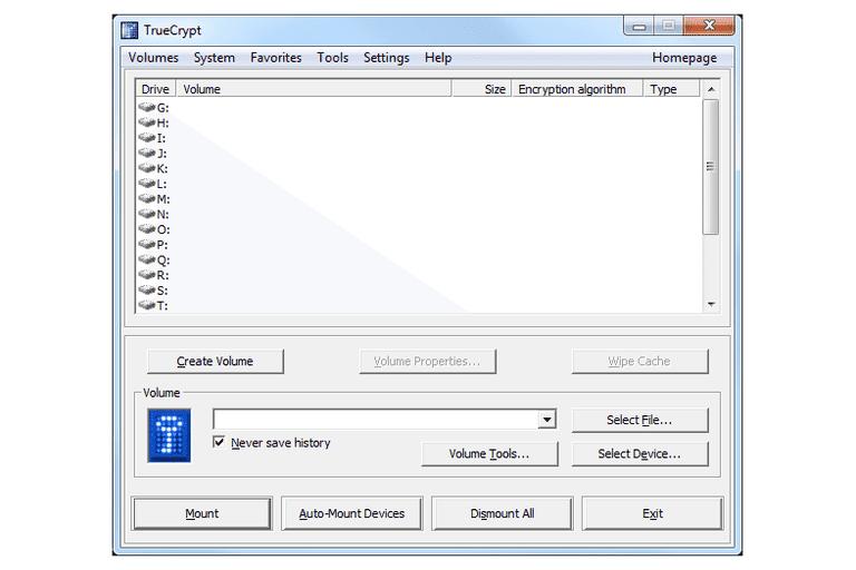 Screenshot of TrueCrypt v7.1a in Windows 7