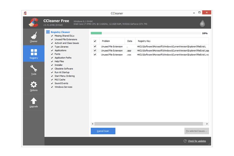 Screenshot of CCleaner v5.41.6446 in Windows 8