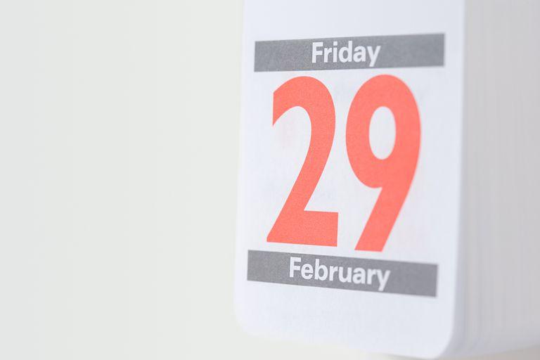 Twenty ninth february on a wall calendar