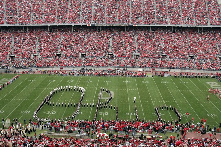 Ohio State University marching band spelling Ohio in script font