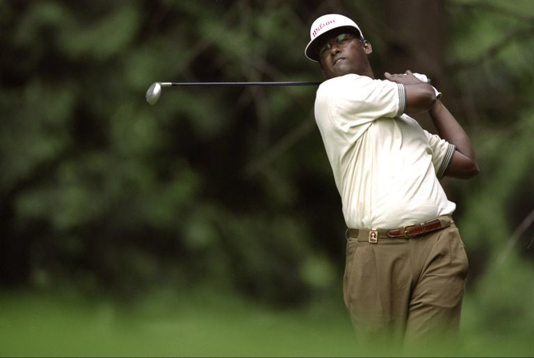 Vijay Singh plays a shot during the 1998 PGA Championship