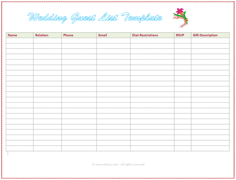 7 Free Wedding Guest List Templates and Managers – Free Wedding Guest List Template
