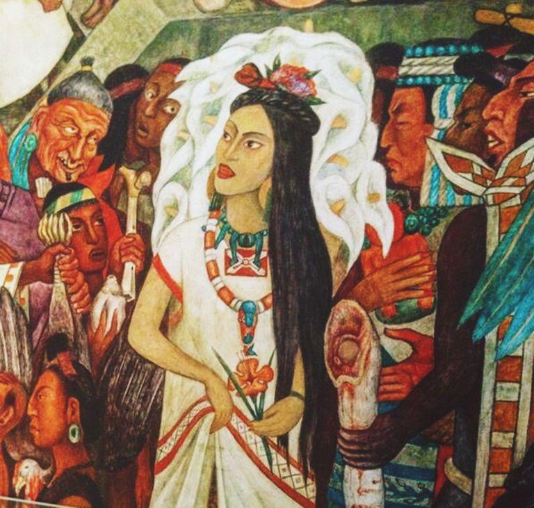 Important events of the conquest of the aztec empire for Diego rivera la conquista mural