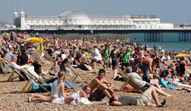 People enjoying the warm weather