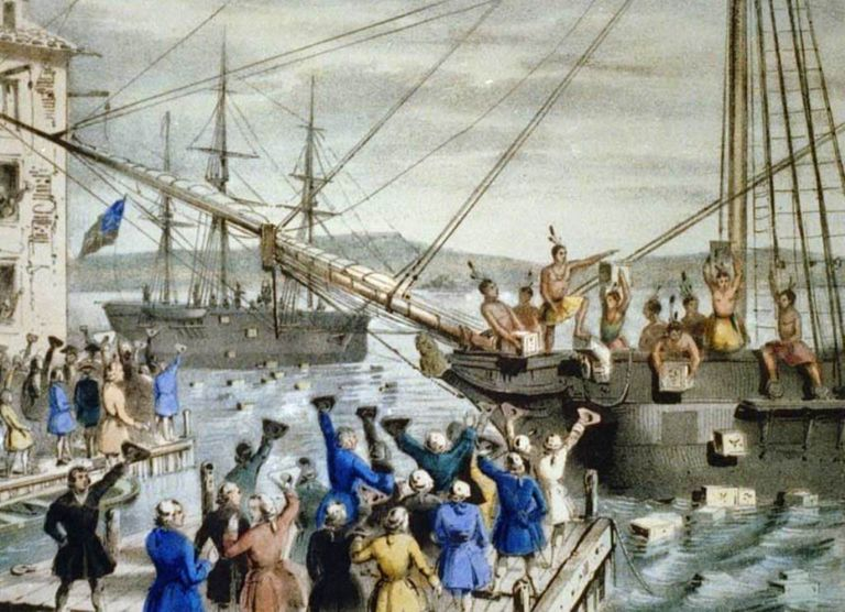 Dumping Tea in Boston Harbor