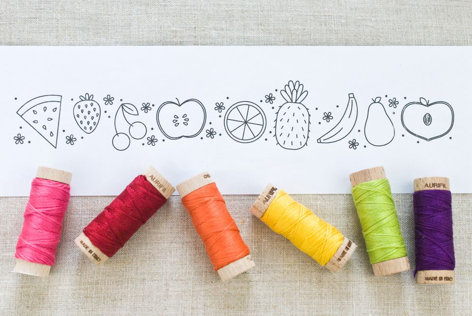 Fruit Border Embroidery Pattern