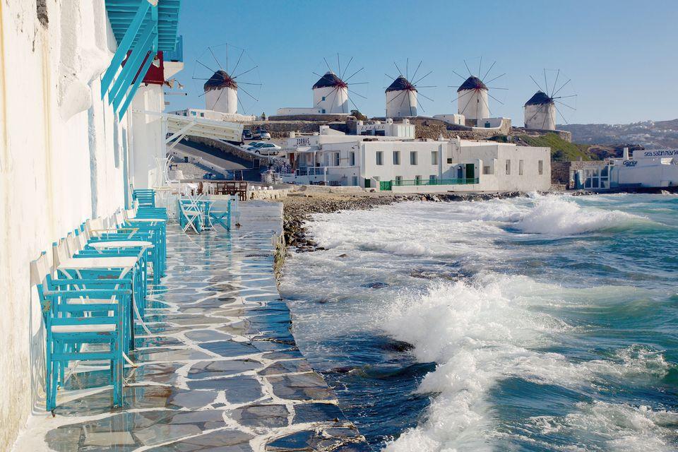The famous windmills in Mykonos, Greece.