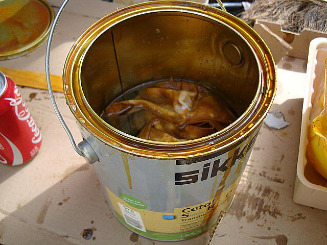 Rags in can of oil stain