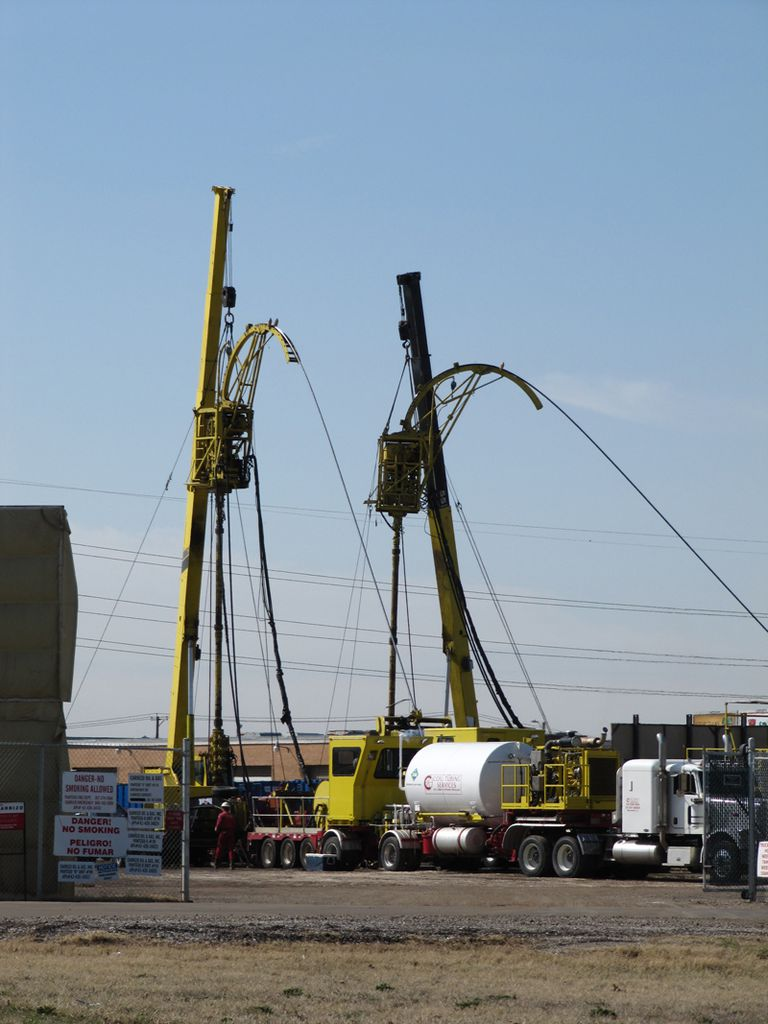Hydraulic fracturing equipment at gas shale well site
