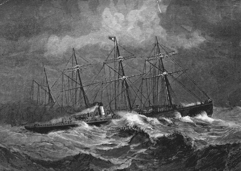 Sailing ship in storm at sea