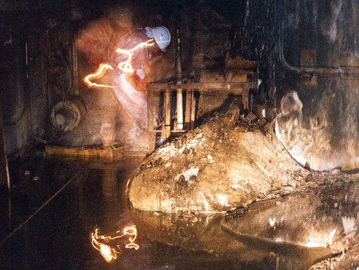 The Elephant's Foot, produced by corium at Chernobyl in Russia, is still hot, both in terms of radioactivity and temperature.
