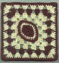Photo of a Crocheted Football Granny Square by Sandi Marshall