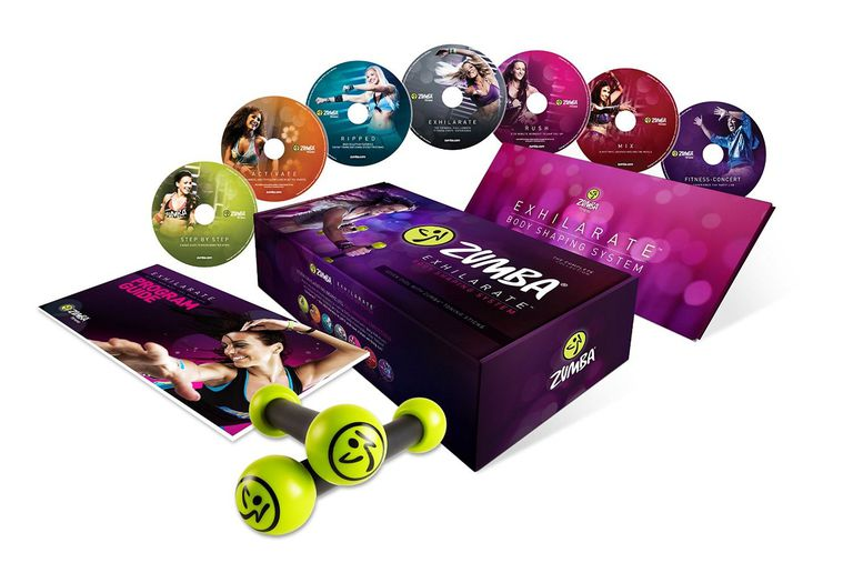 A picture of the Zumba Exhilarate DVDs complete set