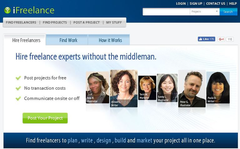 iFreelance website home page