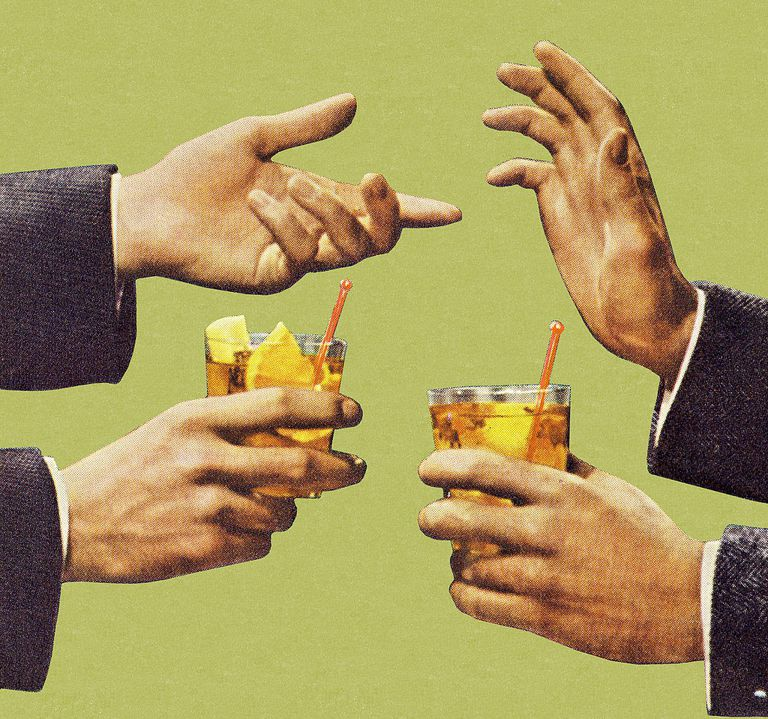two men's hands each holding a cocktail in one hand, gesturing