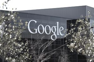 A sign is posted on the exterior of Google headquarters on January 30, 2014 in Mountain View, California.