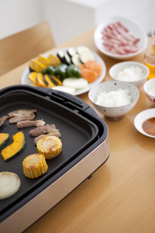Teppanyaki barbecue on the dinner table