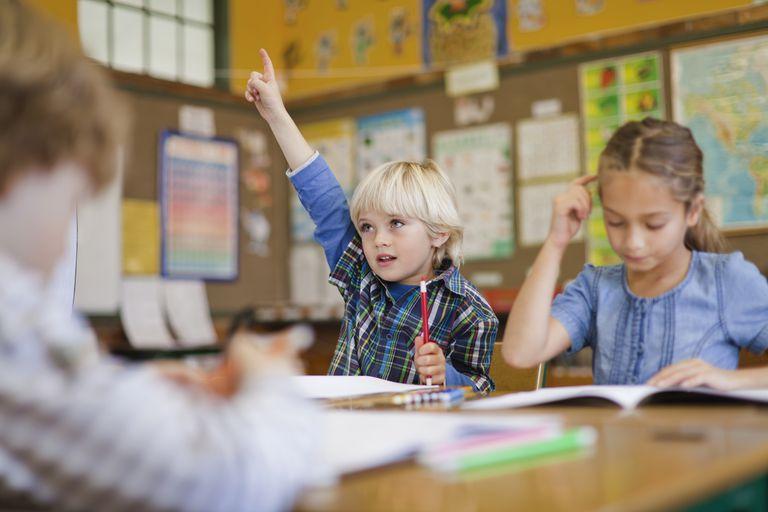 Boy raising his hand in class