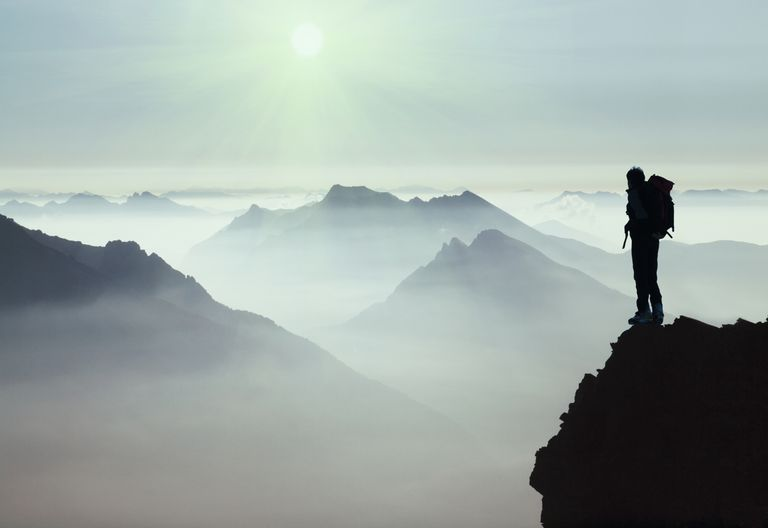 A climber surveys the Mont Blanc region in Europe.