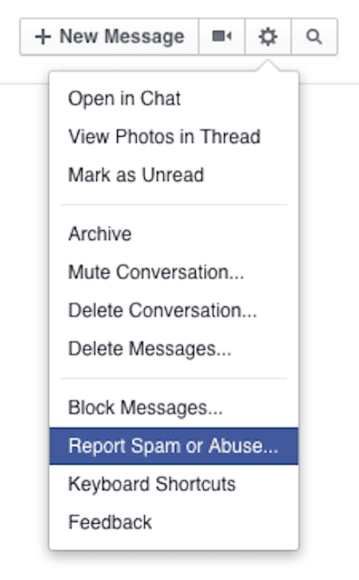 Report Spam or Abuse… in Facebook