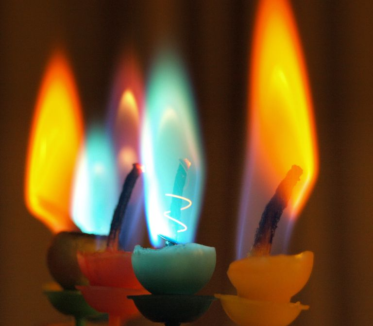 Ionized salts are commonly responsible for colored flames.