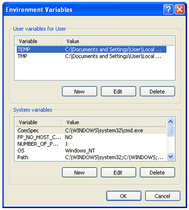 Screenshot of the Environment Variables screen in Windows XP