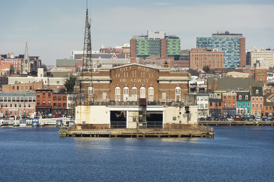Fells Point skyline from the harbor; Baltimore, Maryland, United States of America