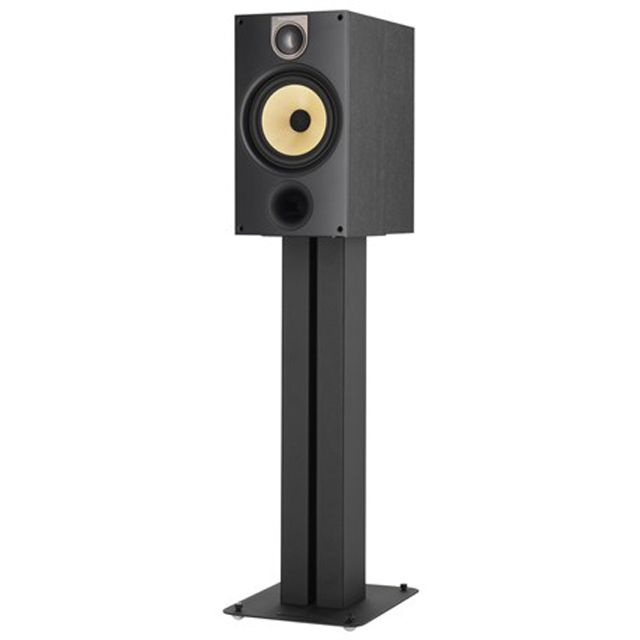 The Bowers & Wilkins 685 stereo bookshelf speaker on a stand