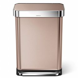 simplehuman Rectangular Step Trash Can with Liner Pocket, Rose Gold Stainless Steel, 55 L / 14.5 Gal