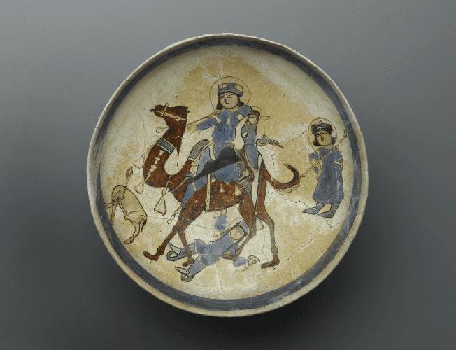 13th Century Persian Bowl Depicting Bahram Gur and Azadeh