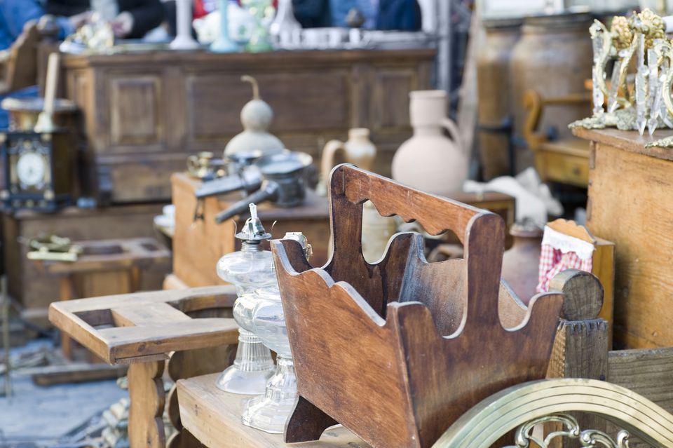 old and antique furniture at yard sale