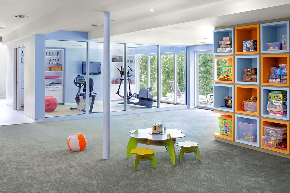 basement home gym with children playroom