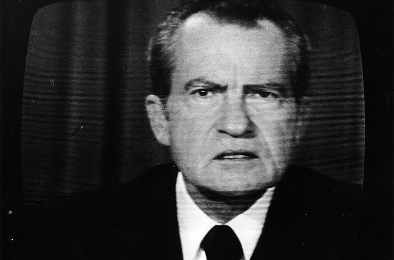 The 37th President of the United States, Richard Nixon, on a television screen