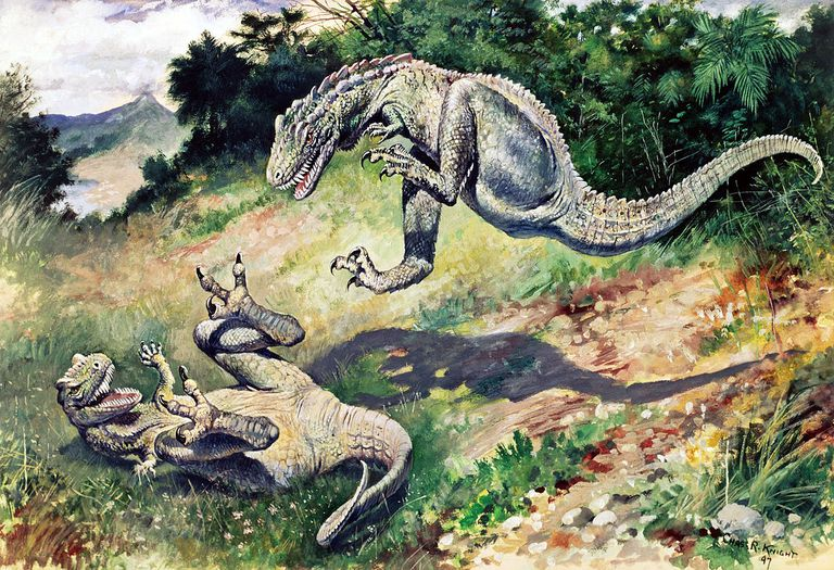 "An 1897 painting of ""Laelaps"" (now Dryptosaurus) by Charles R. Knight"