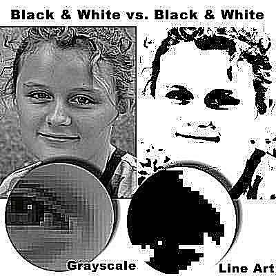 B/W Grayscale vs B/W Line Art