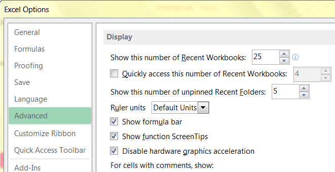 Advanced Display Options in Microsoft Office