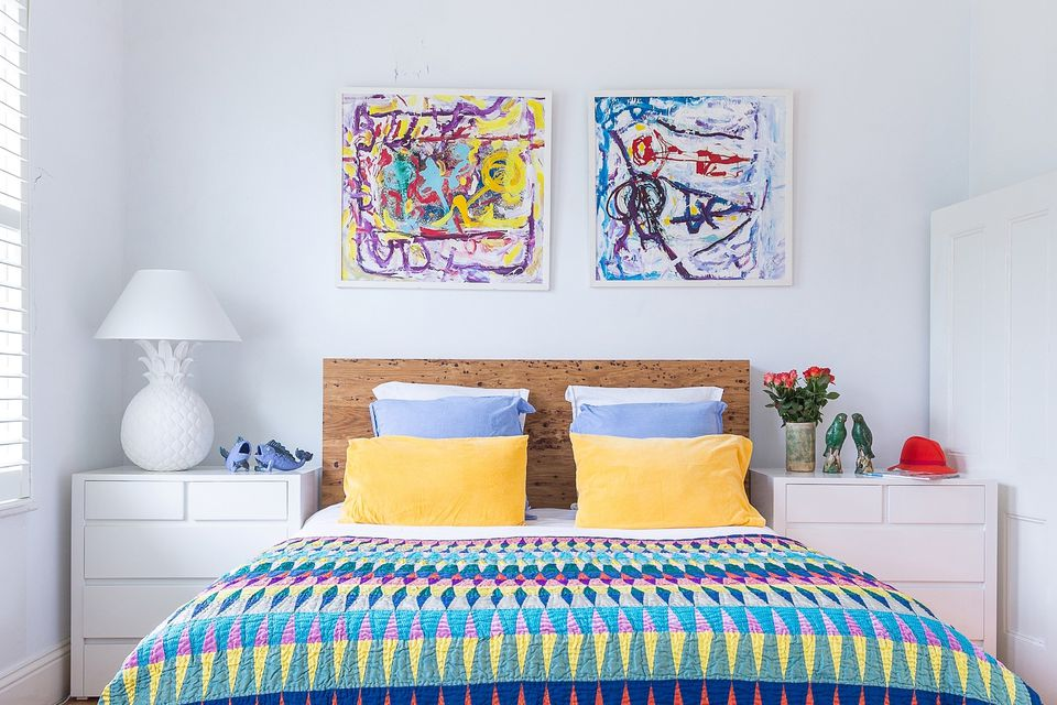 colorful adult bedroom