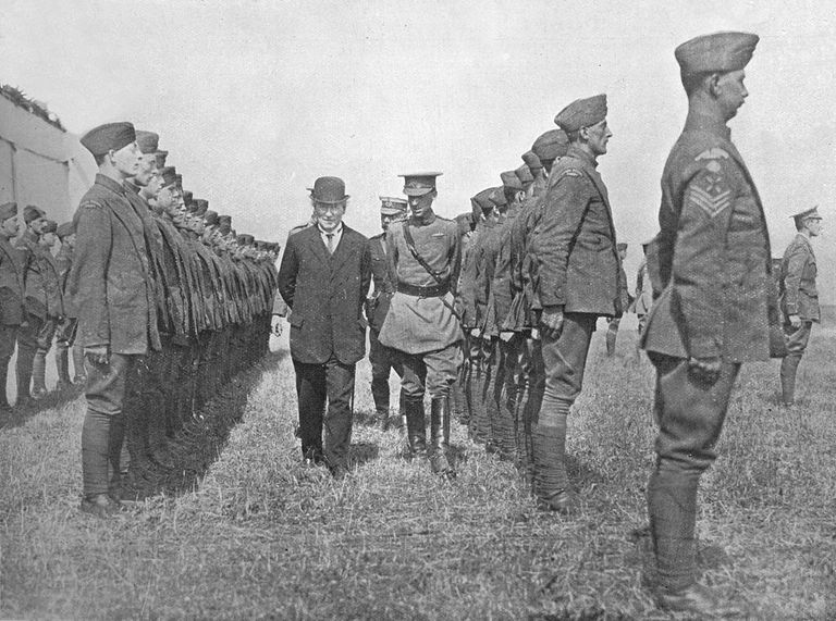 Mr. Asquith inspecting the Royal Flying Corps, 1915.
