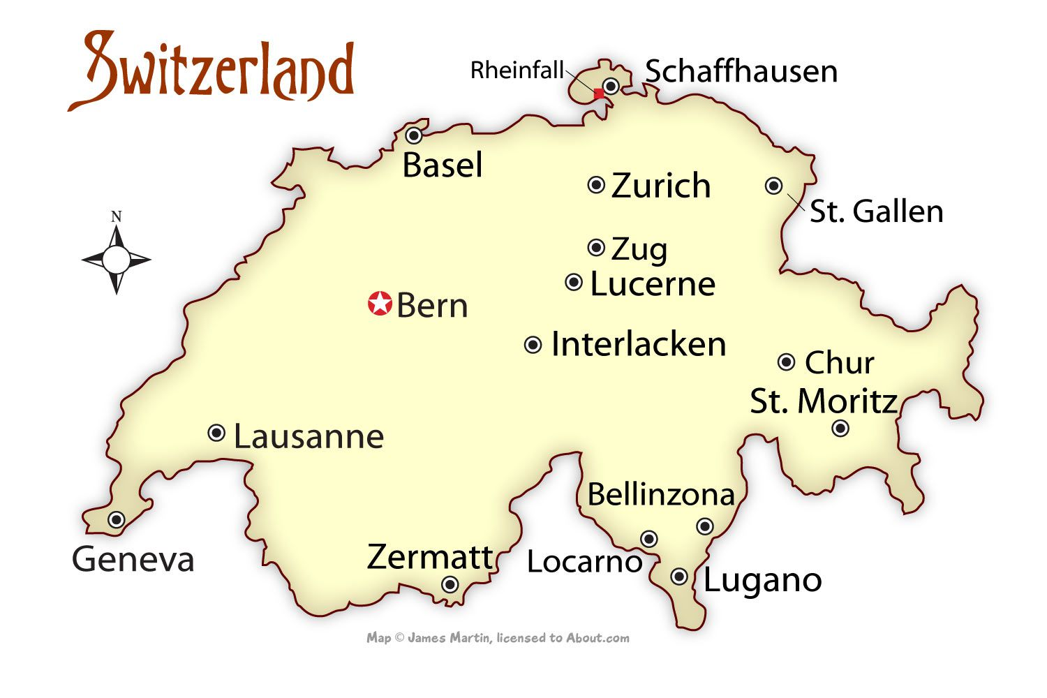 Switzerland Cities Map And Travel Guide - Austria major cities map