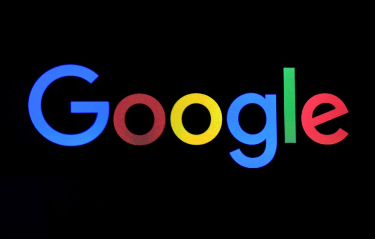 Google logo on black background