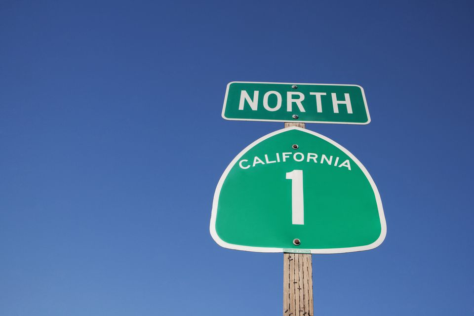 Low angle view of a road sign,California State Route 1,California,USA