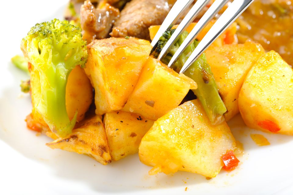 curry potato and broccoli