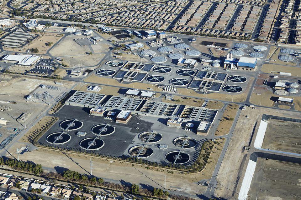 Aerial view of Las Vegas sewage works